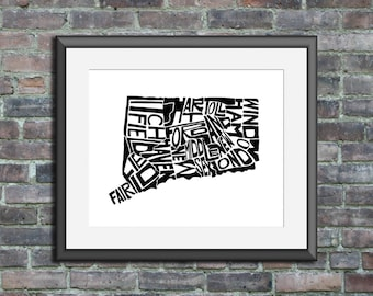 Connecticut typography map art unframed print state poster custom wedding engagement gift anniversary personalized wall art decor