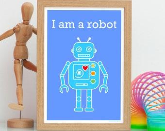 Robot Print, Kids Robot Art Print, Robot Wall Art, Robot Decor, Robot Gift, Name Print, Kids Personalised Name Print, Kids Custom Name Print