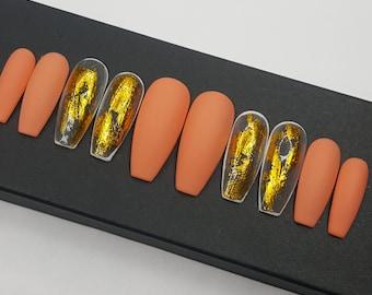 Mrs Peaches Matte Peach Press on Nails Fake Nails Matte Nails Coffin Nails Glue On Nails Long Nails Gold Foil Nails Orange Nail Polish
