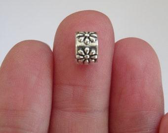 15 Flower European Charm Beads Antique Silver 9 x 8mm - BD06