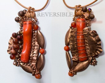 REVERSIBLE Wire Wrapped Carnelian, Agate, Pearls, Salomon Pink Coral Necklace OOAK