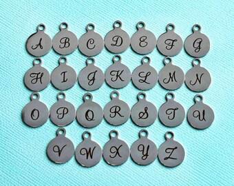 BULK 20 Stainless Steel Letter Charms - Choose Your Initial - Uppercase Cursive Script Alphabet - ALPHA1500BFS-IND-B