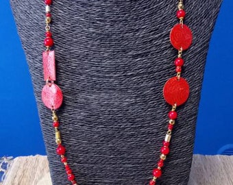 Plant coral necklace and laser etched brass