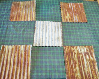 """12 pieces of 12"""" x 12"""" Reclaimed  Corrugated Metal Roofing"""