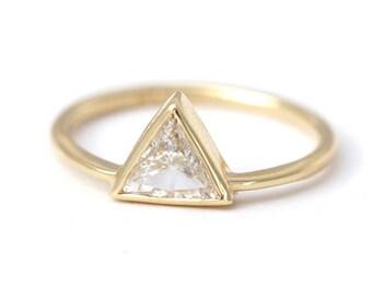 Diamond Engagement Ring, Trillion Diamond Ring, Half Carat Diamond Ring, Triangle Engagement Ring, 0.5 Carat Diamond Ring, Triangle Cut