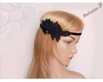 Ribbon Black Lace Headband Boho hippie