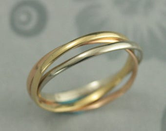 18K Tricolor Rolling Ring~Gold Roller Band~Russian Wedding Band~Solid 18K Gold~Unique Wedding Ring~Triple Ring~Interlocking Ring