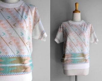 VENTE finale Vintage à manches courtes Pastel acrylique pull ras du cou - grand