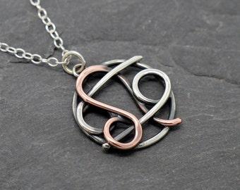 Leo cancer zodiac necklace sterling silver