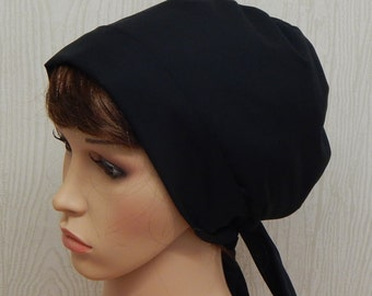 Black head scarf, cotton head wrap, summer head covering, handmade headscarves, retro head wraps