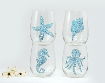 Seashell wine glasses - Set of 4 hand painted glasses - Sea Glass Collection