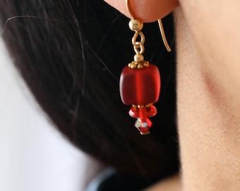 Red Bead Drop Earrings - Gold & Red Earrings - Red Cube Dangle Earrings