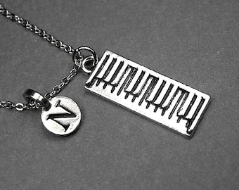Keyboard Necklace, electronic keyboard necklace, digital keyboard, piano necklace, portable keyboard, personalized necklace, initial charm