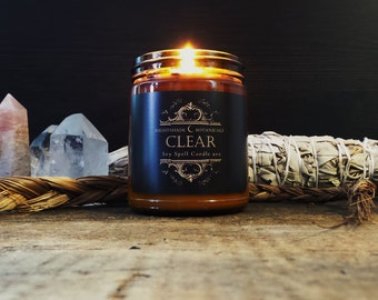 RITUAL SPELL candle ~ 9 oz CLEAR All Natural Soy Essential Oil and Botanical Herb smudge Candle by Nightshade Botanicals