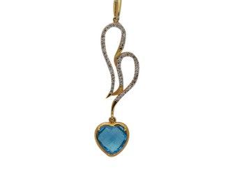 Heart Shaped Blue Topaz and White Diamonds Pendant Charm - 18K Yellow Gold