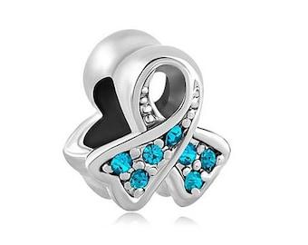 Ovarian Cancer Charm, Cancer Awareness Bead, Teal Ribbon Charm, Bracelet Beads, European Charms, Large Hole Bead, European Bracelet, Blue