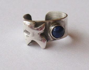 Lapis Bird EarGem ear cuff, sterling earring, cuff earring, bird earcuff, lapis gemstone ear cuff