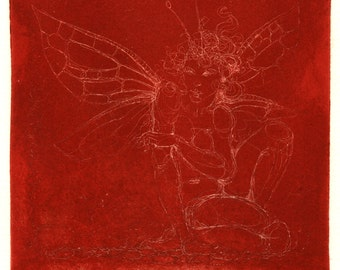 Unique etching - 'Red Fairy' - experimental one-off print in a series of 1. Fantasy, mysterious, etherial. Art by Nancy Farmer, UK