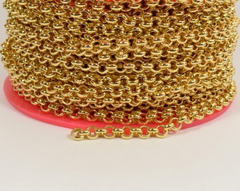 2ft 5.7mm Rolo Chain - Gold Plated - 5.7mm Links - CH81