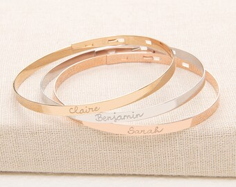 Personalised Flat Bangle - engraved with your words - available in silver, rose gold and gold plate - Merci Maman Jewelry Gift, mother's day