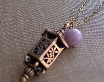 Tarot Series - IX The Hermit - Lilac Stone and Lantern Simple Necklace