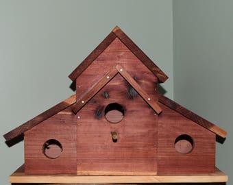 Rustic Cedar Barn Birdhouse - 3 in 1 Birdhouse Condos - Handmade Outdoor Birdhouse