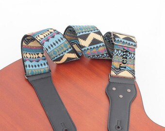 Personalized Guitar Strap Bohemia steel-string acoustic guitar strap leather end Electric guitar bass belt wood guitar strap