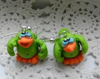 Pook's Pudgy Little Lime Green Bird Dangly Earrings