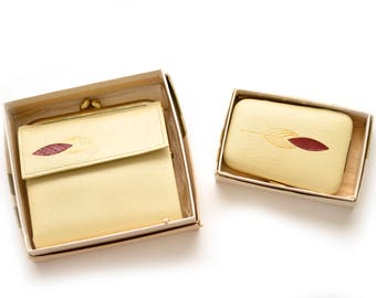 60s Buffalo Leather Wallet and Key Holder Matching Set Cream Gold Red Princess Gardner Cattail Design NOS Dead Stock