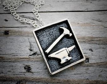Sterling Silver Anvil Necklace Wild Prairie Silver Jewelry Handmade Joy Kruse