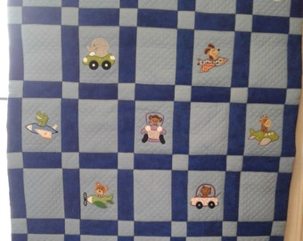 Applique Animals in Planes and Cars Baby Crib Quilt