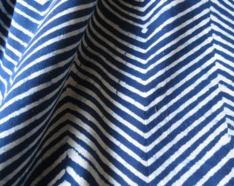 Blue and White Zigzag Print Cotton Fabric