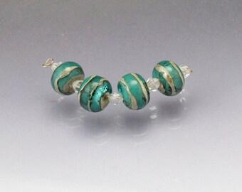 Lampwork glass bead set MADE to ORDER teal blue handmade round beads handmade Sea Rocks Anne Londez SRA