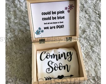 Pregnancy Reveal Surprise Announcement Baby Due Grandparents Gift Aunt Uncle Daddy Personalized Custom Box Onesie Instagram Picture