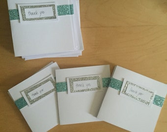 Hand-crafted glitter ribbon thank you cards - pack of 5.