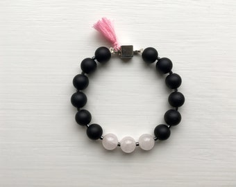 Onyx, Rose Quartz, and Hematite Bracelet
