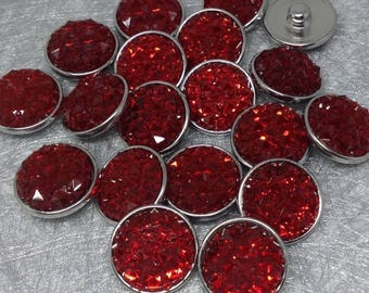 DECORATIVE RELIEF EFFECT RHINESTONE RED 20MM SNAP BUTTON