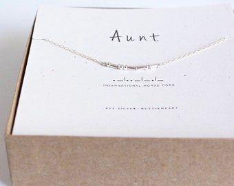 Aunt Gift Necklace / Aunt Silver Choker Necklace / Auntie Gift / Custom Morse Code Necklace Friend Friendship Best Friend Gift