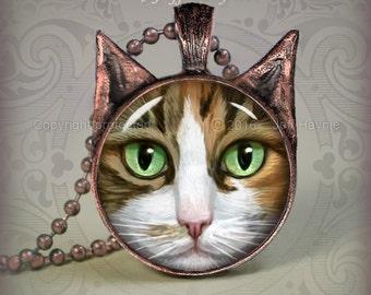 CA5 Calico Tuxedo Cat pendant