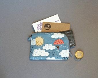 Rainclouds Coin Purse - Small Umbrella Coin Purse - Cute Bird Coin Purse - Little Zipper Pouch