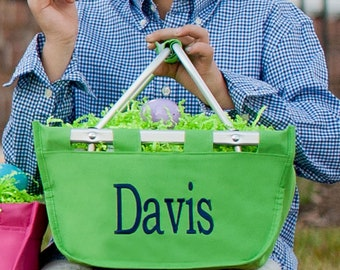 Mini Green Monogram Market Tote Basket, Large Personalized Basket