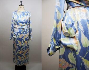 1930s Silk Robe / 30s Blue Dressing Gown / 1930s Silk Peignoir / Balloon Sleeves / Size Large / M L XL