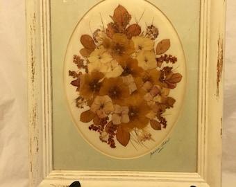 Vintage Hand Signed Pressed Flower Art Upcycled Wooden Frame