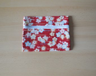 Cotton pouch and Japanese traditional fabric red and plum blossom