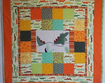 Alligator Upcycled Modern Baby Quilt 1