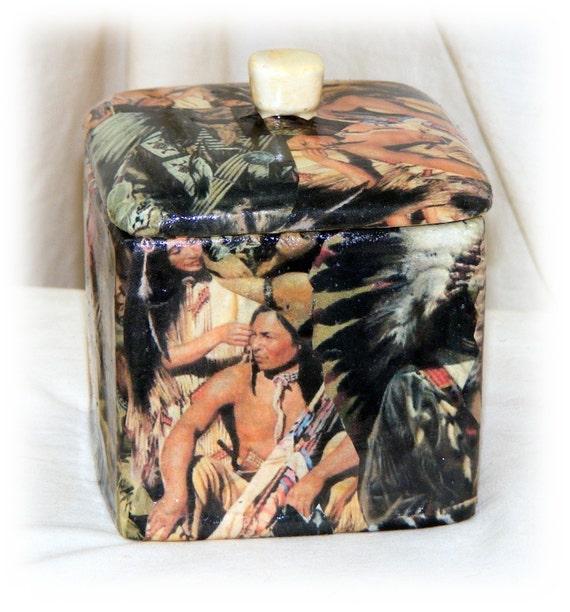 AMERICAN INDIAN DECOUPAGED Large Ceramic Trinket Box . .