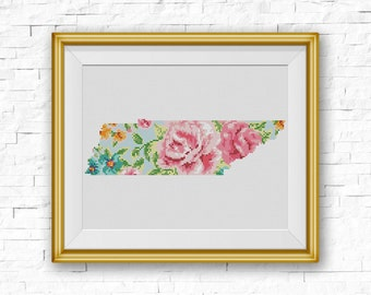 BOGO FREE! Tennessee Cross Stitch Pattern, Floral Tennessee Silhouette Map, TN State Counted xStitch Chart, pdf Instant Download #039-40-1