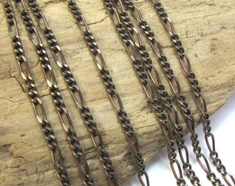 Figaro Chain, Natural Brass Figaro Chain, 2.1x5.9mm Figaro Chain, 20 inches, Necklace Supplies, Made in the USA, Item 1509v