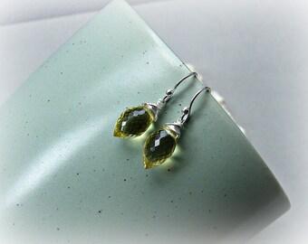 Dainty gemstone earrings, gemstone earrings, lemon earrings, lemon quartz earrings, quartz sterling earrings, oro verde silver earrings