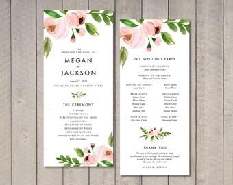 Modern Blush Floral Wedding Program (Printable) by Vintage Sweet